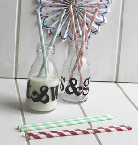 Red Vintage Style Paper Straws - table decorations