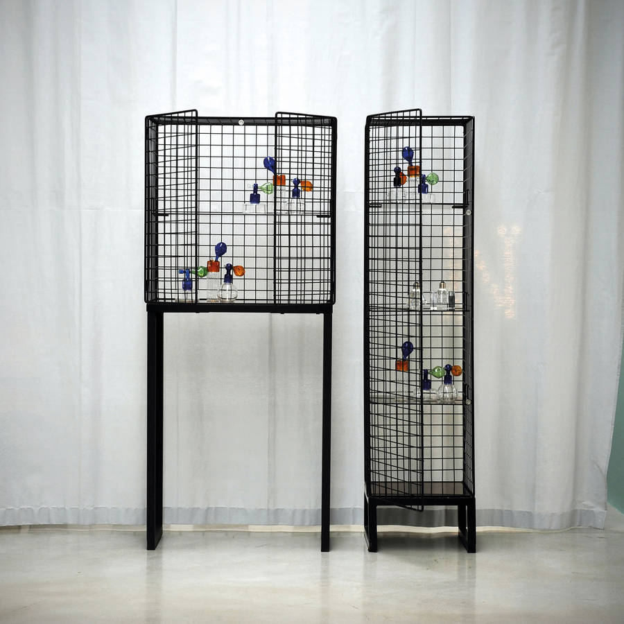 wire mesh cabinet in black or white by out there interiors ...