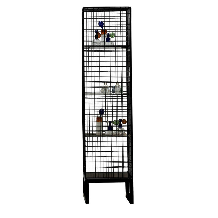 Narrow Wire Mesh Cabinet In Black