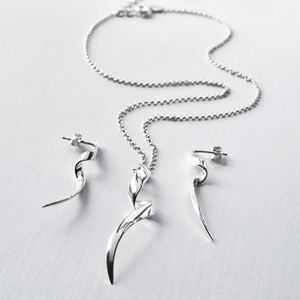 Silver Ribbon Twist Jewellery Set - women's jewellery