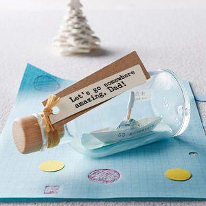 Personalised Handmade Paper Ship In A Bottle - for fathers