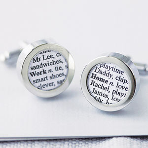 Personalised Words Cufflinks - gifts for him sale
