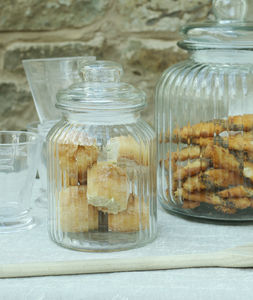 Vintage Ridged Glass Biscuit Jar - kitchen