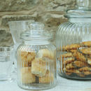 Vintage Ridged Glass Biscuit Jar