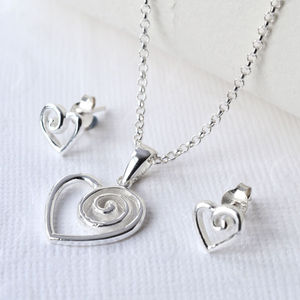 Silver Spiral Heart Jewellery Set - women's jewellery