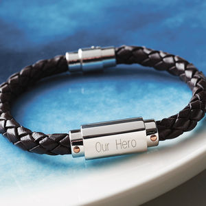 Personalised Chunky Leather Identity Bracelet - last-minute christmas gifts for him