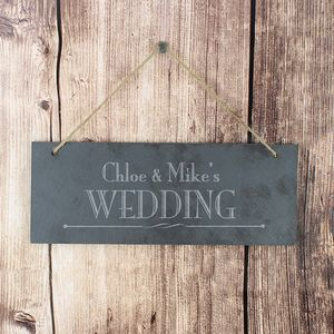 Slate Personalised Wedding Sign - outdoor decorations