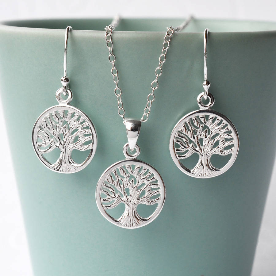 and sterling pendant tree of life silver love treeoflife necklace hearts