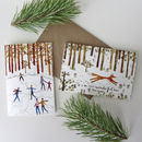 Six Illustrated Fox And Ice Skaters Christmas Cards