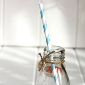 Blue Vintage Style Paper Straws