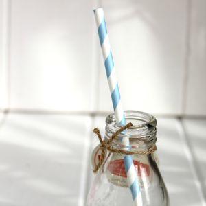 Blue Vintage Style Paper Straws