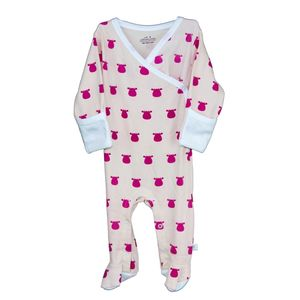Kimono Footed Romper, Solid Cow Pattern - clothing