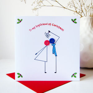 'To My Boyfriend At Christmas' Button Card