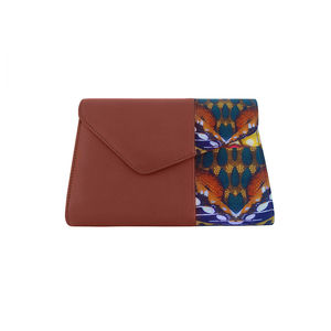 Tan Brown Leather Clutch Bag With Digital Print