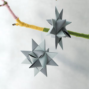 Origami Paper Star Decoration - on trend: yellow & grey