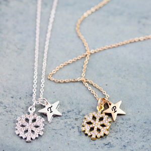 Gold And Silver Rhinestone Snowflake Necklace