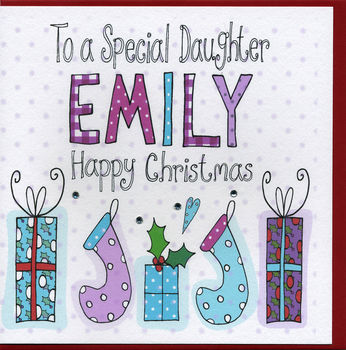 Personalised Daughter Christmas Card Pressies and Stockings (TT988P)