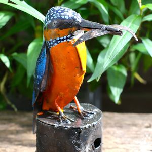 Handpainted Kingfisher Garden Sculpture - art & decorations