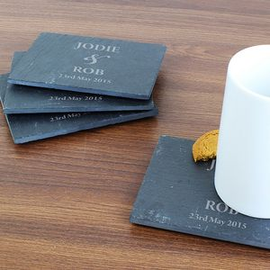 Four Wedding Personalised Slate Coasters - placemats & coasters