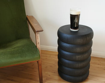 Ebonised Oak Stool Or Side Table
