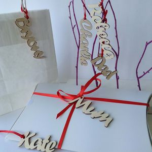 Personalised Natural Wood Name Gift Tags