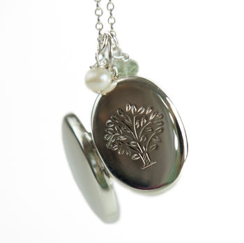Large Silver Tree Locket Necklace