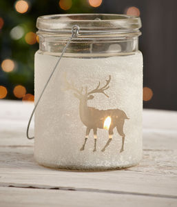 Frosted Reindeer Glass Jar