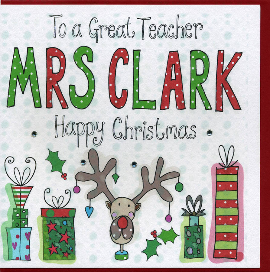 Personalised Teacher Christmas Card By Claire Sowden