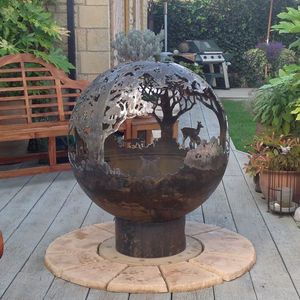 English Country Garden Themed Sculptural Firepit - summer garden