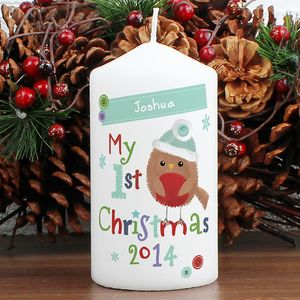 Robin Personalised My 1st Christmas Candle 2014 - christmas