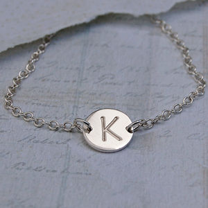 Personalised Initial Silver Disc Necklace