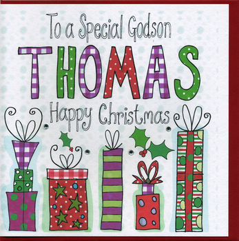 Personalised Godson Christmas Card