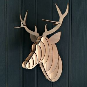 Laser Cut Wooden Forest Stag Head Kit