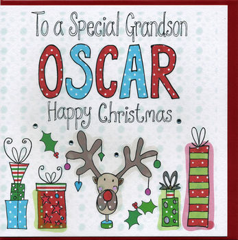 Personalised Grandson Christmas Card
