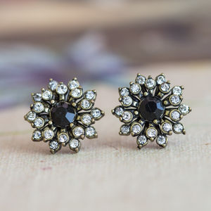 Anna Black Crystal Flower Earrings