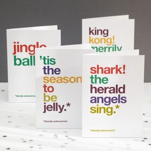 Pack Of Four Autocorrect Humorous Christmas Cards - christmas cards: packs
