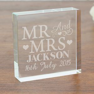 Mr And Mrs Crystal Wedding Token