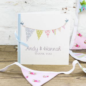 10 Personalised Bunting Thank You Cards - thank you cards