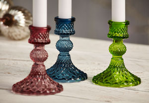 Set Of Three Coloured Glass Candlesticks - candles & candlesticks
