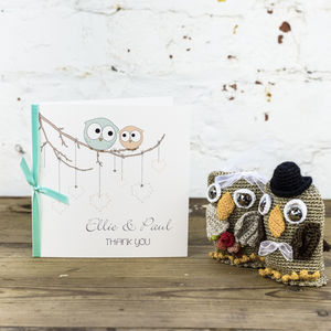 10 Personalised Owls Thank You Cards - wedding stationery