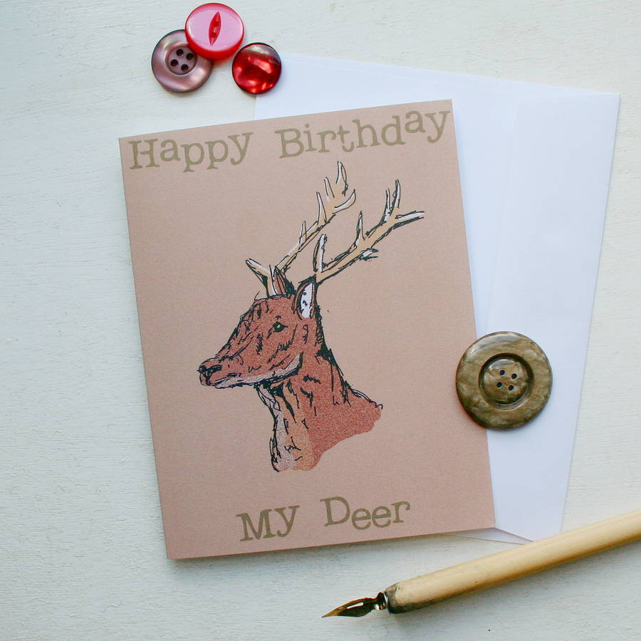 Woodland birthday cards by laura crow notonthehighstreet deer card hedgehog birthday card bookmarktalkfo Image collections