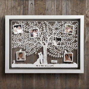 Large Personalised Wedding Tree Photo Papercut