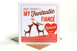 Personalised Fiancé Or Fiancee Christmas Card - cards