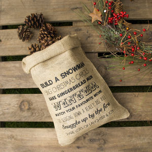 Winter Wish List Hessian Storage Sack