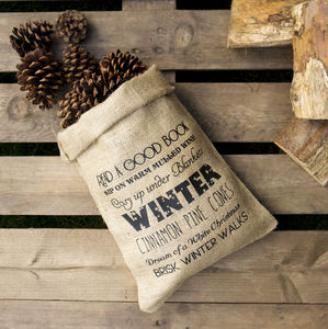 Winter Wish List Hessian Christmas Sack