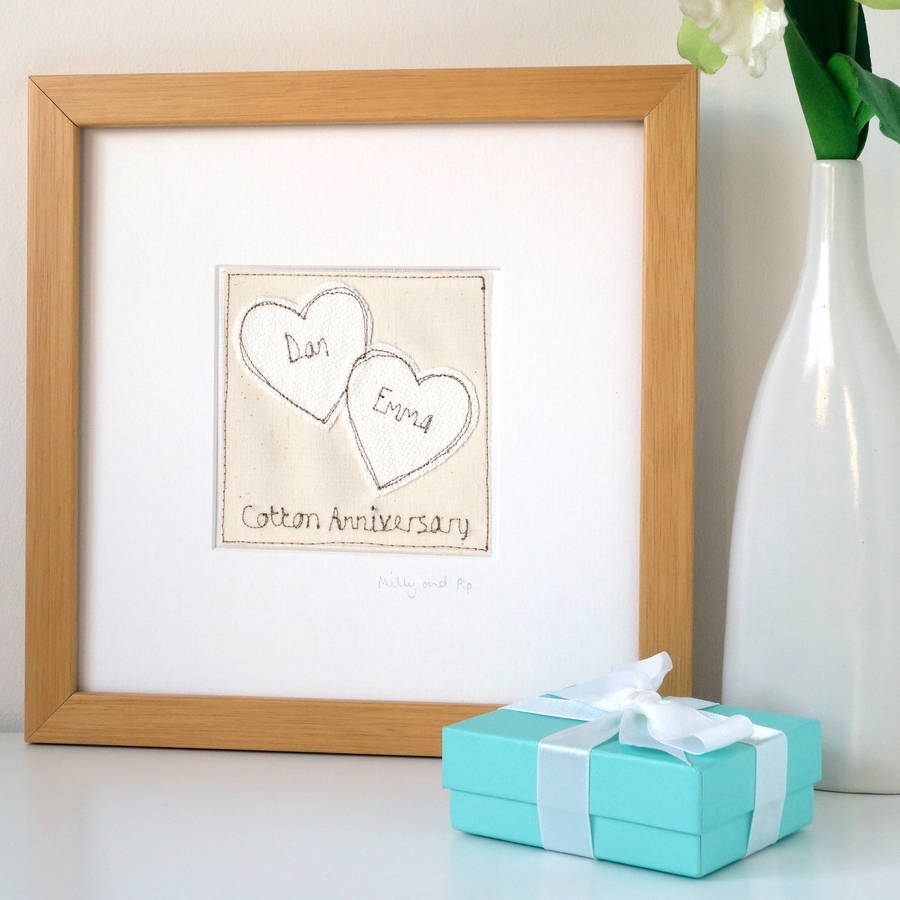 Personalised Cotton Wedding Anniversary Gift 2 Hearts