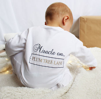 Miracle On…'Your Street' Baby Sleepsuit