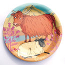 Highland Cow And Sheep Melamine Plate