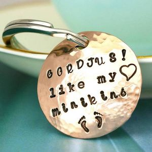 Personalised Handmade Round Copper Keyring - keyrings
