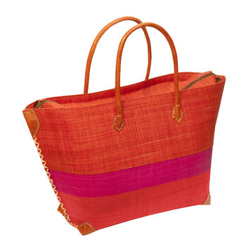 Raffia Tote Brown with Pink Stripe